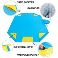 Wholesale floor cushion pads - Moisture Proof Pad For Outdoor Picnic Waterproof Raincoat With Rain Cap Pocket Floor Cushion Three In One Multifunction Mats 30fs X