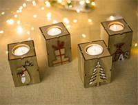 ahşap tutacaklar toptan satış-Çay Işık Dekorasyon için Noel Ahşap Mumluk Şamdan Masa Lambası