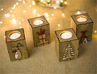 suportes para lâmpadas venda por atacado-Natal Madeira Vela Castiçal Lamp Table For Decoração Luz Tea
