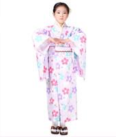 хлопок детские халаты оптовых-Новый японский стиль новорожденных девочек Кимоно платье детские хлопок юката дети сценическое платье ребенок косплей костюмы цветочные JA36