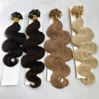 keratin tırnak ucu saç uzantıları toptan satış-100 g / paket U Tırnak Ucu Ön gümrük Fusion Saç Uzantıları Vücut Dalga 100 ipliklerini / paketi Keratin Sopa Brezilyalı İnsan Saç # 1B Siyah # 8 Kahverengi # 613