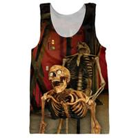 Wholesale men s singlet tops online - Funny Skulls Tank Tops d Print Bone Daddy Pattern Sleeveless Shirt Striped Vest Sexy Men Fashion Clothing Stringer Singlets Jersey