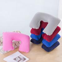 воздушная подушка для автомобиля оптовых-FamyFirst Функциональная надувная подушка для шеи PVC U Shaped Travel Pillow Автомобильная головка шеи Rest Air Cushion for Travel