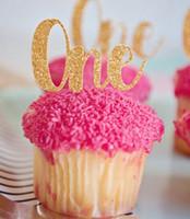 Wholesale custom wedding cupcake picks resale online - glitter custom age st birthday cupcake toppers baptism baby shower wedding party decoration doughnut food picks