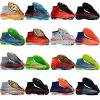 Wholesale youth cr7 soccer shoes for sale - Group buy 2018 mens soccer cleats Mercurial Superfly V CR7 FG indoor soccer shoes kids boys youth football boots neymar womens botas de futbol Black