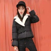 spitze baumwolle gepolsterte jacke großhandel-Winter Frauen Baumwolle Gefütterte Jacke Beiläufige Kurze Parkas Mantel Warme Mäntel Solide Lace Up Slim Coat Outwear