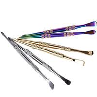 protetor de atomizador cig venda por atacado-Prata de ouro Rainbow Wax dabbers Dabbing ferramenta vara de metal seco erva ferramenta dabber dab oil rig