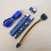 pci e kabel 1x 16x großhandel-Ver009S Riser 60cm PCI-E 1X auf 16X LED Express Riser Kartenerweiterung Riser Adapterkarte SATA 15Pin-6Pin USB 3.0 60cm Stromkabel mit LED