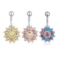 botões da jóia venda por atacado-D0691 (4 cores) Limpar AB estilo Girassol piercing no umbigo piercing no corpo jewlery 1.6 * 11 * 5/8 anel da barriga Jóia Do Corpo