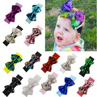 Wholesale hair bows christmas for girl resale online - 14 colors baby big sequins bow headbands for girls kids Christmas hair bows babies elastic headbands head wrap hair accessories hair LJJM285