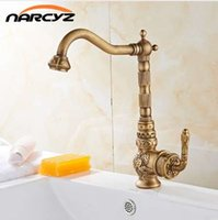 Wholesale antique kitchen handles resale online - Retro Style Antique Brass Kitchen Faucet Cold and Hot Water Mixer Single Handle Degree Rotation New Arrival Tap XT