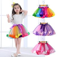 Wholesale orange dancewear - 6Pcs New Kid Girls skirt Rainbow color tutu Dresses Newborn Lace Princess Skirt Pettiskirt Ruffle Ballet Dancewear
