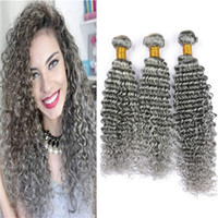 ingrosso virgin hair gray color-Fasci capelli brasiliani grigi onda profonda ricci capelli umani tessere 3 offerte bundle 8A estensioni di colore grigio capelli economici a buon mercato