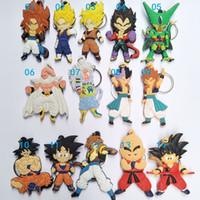 anéis do dragão do natal venda por atacado-100 pcs DHL Bonito Dragon Ball Toys figuras de ação Goku Macio PVC Dupla Face chaveiros chave anéis anéis Modelos Anime presentes de natal Para brinquedos infantis