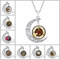 Wholesale Watch Wholesalers Singapore - Retro Watch Pattern Time Gemstone Chokers 4*3.5cm Hollow Moon Pendants Designer Women Men Necklaces Jewelry as Gifts