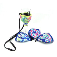 Wholesale home decor suppliers for sale - Group buy Neoprene Wine Glass Cooler with Strap Zipper Colorful Wine Cup Holder Decoration Neoprene Glass Cooler Cozie Suppliers Home Party Bar Decor