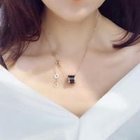 romen rakamları mücevherat toptan satış-Moda lüks gun siyah beyaz romen rakamı seramik kolye mens kolye erkekler için altın zincirler paslanmaz çelik kadınlar tasarımcı takı