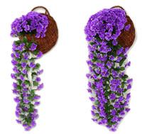 Wholesale violet silk flowers - 80cm Artificial flowers Hydrangea Violet Hanging Flowers Window Balcony Wall Hanging Fake Flowers Wedding Wall Silk Flower