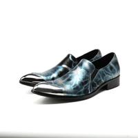 spitzen männer schuh großhandel-mens schuhe high heels blau spike loafers metal pointy oxford schuhe für männer klassische handgemachte formelle schuhe herren