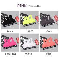 bh shirts großhandel-Liebe Rosa Brief Sexy Frauen Sport Bh Running Yoga Weste Shirts Rüttelfest Gym Fitness Bh Drücken Elastische Crop Tops Unterwäsche LK01