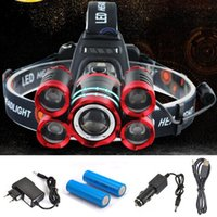 Wholesale xml t6 headlight - CREE 5*LED XML T6 Headlight 20000 Lumens 4mode Zoomable Headlamp Rechargeable Head Lamp flashlight+2*18650 Battery+AC DC Charger