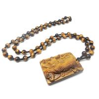 jade tiger auge großhandel-Tiger-Tier-Tier-Tierkreis-Tiger-Jade-Gold Tiger-Halsketten-hängender natürlicher Tiger-Augen-Anhänger
