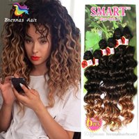 Wholesale synthetic afro kinky weave online - Freetress Synthetic Hair Extensions B Ombre Brown Purple Burgundy Jerry Curly Hair Weave Bundles Afro Kinky Curly