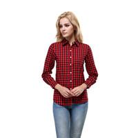 longue chemise copain femme achat en gros de-Casual Plaid Femmes Blouses Rouge Noir Check Style Boyfriend Manches Longues En Coton Chemises Tops Plus La Taille SS-013