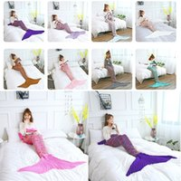Wholesale costumes europe for sale - New Adult Mermaid Tail Quilt Blanket Knitted Crochet Wrap Costumes For Sofa Blankets Mermaid Blanket CM I311