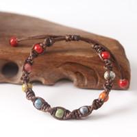 фарфоровые изделия ручной работы оптовых-Jingdezhen ceramic colorful  handmade rope chain bracelets for ethnic porcelain wrist of jewelry 2018