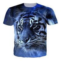 модные футболки тигровые оптовых-Модная мужская футболка, разноцветный тигр, тигр, принт животных, блузка с короткими рукавами, случайные любители, прямые продажи и поддержка.