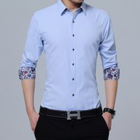 Wholesale Korean Fashion Clothes For Men - 2018 New Fashion hot-Clothing Mens Shirts Casual Slim Fit Korean Solid Square Collor White Long Sleeve Shirts For Men M-4XL