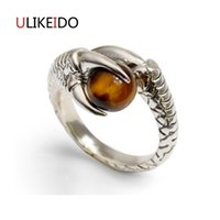 Wholesale Sterling Dragon Ring - 100% Pure 925 Sterling Silver Jewelry Dragon Rings With Tiger Eye Stone Punk Men Signet Ring For Women Christmas Gift 1007