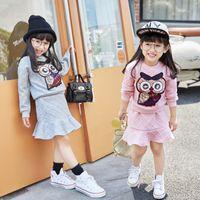 terno animal coreano venda por atacado-Chegam novas duas peças da versão coreana meninas dos desenhos animados saia animal set infantil linda cor pura terno das crianças roupas