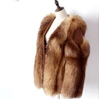 ingrosso giacca di parka rossa corta delle donne-2018 New Short Parka Natural Real Red Fox Fur Coat Polsini di legno Giacca invernale Donna Parka di spessore Capispalla casual moda di marca