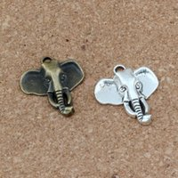 Wholesale bronze elephant necklace resale online - Elephant head Charms Pendants x26 mm Antique silver Antique bronze Alloy Fashion Jewelry DIY Fit Bracelets Necklace A