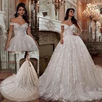 Wholesale romantic corset wedding dresses for sale - Romantic Off shoulder Appliques A Line Wedding Dresses Corset Zipper Back Embroidery Princess A Line Beach Bridal Gowns Sweep Train