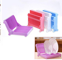 Wholesale kitchen dish drainer - Foldable Dish Rack Stand Holder Bowl Plate Organizer Tray Tableware Storage Kitchen Drying Rack Dish Drainer Drip Shelf Tools KKA4017