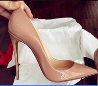 Fashion Design Shiny Black Red Bottom Bottoms Nude High Heels Heel Black Silver Wedding Pumps Dress Women Womens Shoes 12cm 10cm 8cm