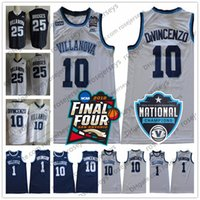 parches navy al por mayor-2018 Final Four Villanova Wildcats # 25 Mikal Bridges 10 Donte DiVincenzo 1 Jalen Brunson Blanco Navy Blue cosida Champions RVM Patch Jersey