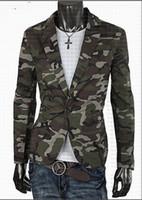 Wholesale mens suit costumes for sale - Spring Blazer Men Fashion Casual Mens Cotton Short Slim Army Camouflage Jacket Coat Lapel Man Suit Brand Costume Homme M XL
