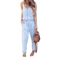 Wholesale office work trousers long resale online - Summer Jumpsuits Women s Work Office Clothing Light Dark Blue Jeans Sleeveless Long Trousers Pants Casual Loose Jumpsuit
