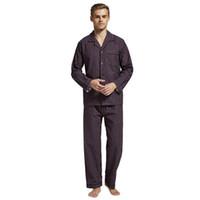 longs ensembles de chemise de nuit achat en gros de-TonyCandice Winter Pyjamas Hommes Vêtements de Nuit Flanelle Chaud Pyjama Ensemble Homme Chemise De Nuit À Manches Longues 100% Coton Pyjama Casual