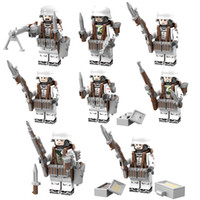 Wholesale toy military soldiers - 8Pcs World War 2 Military German soldiers Minifig with Weapons WW2 Block Set Army Building brick Kids Toy Compatible