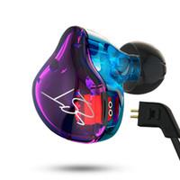 bluetooth kulak kancalı kulaklıklar toptan satış-Ağır Bas ve Gürültü Izole KZ ZST HIFI Kulaklıklar Kulak Kanca Spor Kulaklıklar Yüksek Hassasiyet HD Kulaklık Samsung IPhone Için 50 adet