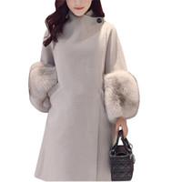 roupa de lã de inverno venda por atacado-Moda Fur Manga Inverno Mulheres Jaqueta 2017 Novo Casaco De Lã Sólida Outwear Magro Para Roupas Femininas Wooolen Casaco QW756