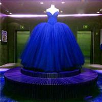fiesta nupcial tutu al por mayor-Imagen real de lujo Vestido de fiesta para adultos Vestido de quinceañera Royal Blue Sueño rojo Vestidos de fiesta Vestido de fiesta nupcial Tutu vestido de novia
