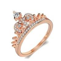 Wholesale white rose princess resale online - New Pretty Crown Rose Gold Silver Women Rings Lady Luxury Cubic Zirconia Crystal Ring Princess Rings Wedding Jewelry