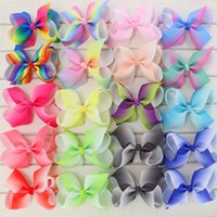 Wholesale Wholesale Metallic Ribbon - Babymatch 4.5'' Grosgrain Ribbon Hair Bows WITH Alligator Clip Rainbow Bow Clips For Girls Kids Hair Gift Cute Christmas Bows