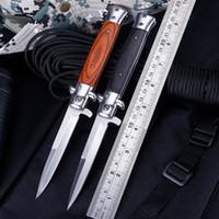 складной шпилька оптовых-Итальянский AB Крестный отец мафия Стилет горизонтальный тактический складной нож 3Cr13 деревянная ручка авто кемпинг охота выживания EDC инструменты